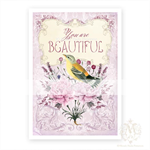 You are beautiful, bird print, for nursery, home decor, vintage illustration