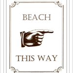 Retro Art Print 'Beach This Way' (Large) 11 x 14