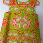 Vintage style Pinnafore. Lime and orange Paisley. 12 - 18 Months, cool cotton.