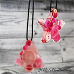 Christmas Button Star + Tree PINK pack - Decoration - Resin - Buttons - Hanging