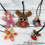 Button Christmas Decoration Pack - 5 ornaments - Resin - Buttons - Hanging