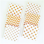 Gold Glitter Coasters - 6 Ceramic Tile Drink Coasters Crosses Chevron Spots