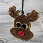Rudolph LARGE Buttons - Christmas Decoration - Resin - Button - Hanging