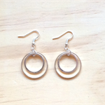 MEDIUM SIMPLE SILVER CIRCLES TWO CIRCLES EARRINGS - FREE SHIPPING WORLDWIDE