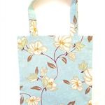 Shopping Tote, Floral Aqua and White Linen, Reusable Shoulder Bag
