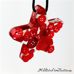 Christmas Button Stars RED - sinlge - Decoration - Resin - Buttons - Hanging