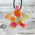 Christmas Button Star SINGLE - Citrus - Button Resin Christmas Decorations