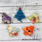 Set of 5 Christmas Button Trees - Decoration - Resin - Buttons - Hanging