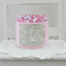 crochet storage basket, pink  with agapanthus and roses, free postage