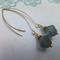 Gold Czech Aqua Drop Earrings - Long or short