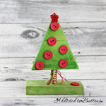 Button Tree - Green Red Wooden Christmas Tree decorated with Buttons (small)