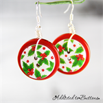 Christmas - Holly -  Drop Dangle Earrings - Hook