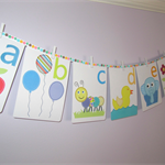 Alphabet wall cards - alphabet wall art - alphabet flash cards - letter wall art