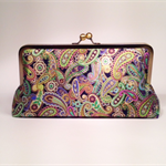 Metallic paisley on black large clutch purse