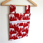 Laundry Fun Peg Bag - White Deer on Tomato Red
