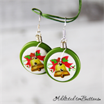 Christmas - Golden Bells -  Drop Dangle Earrings - Hook