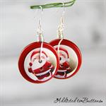 Christmas - Santa -  Drop Dangle Earrings - Hook