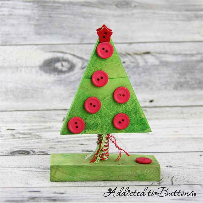 Button Tree - Green Red Wooden Christmas Tree decorated with Buttons (small) | Addicted to Buttons | madeit.com.au