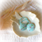 Christmas blue, red & white floral fabric button hair ties
