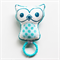 Owl Rattle Baby Toy Teal Handprinted Organic