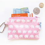 Oilcloth Coin Purse / Mini Wallet - Elephants (Pink)