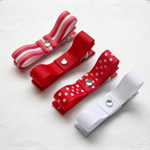 'Ruby' - 4 piece red and white clip set