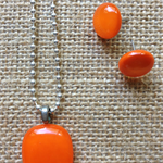 Orange Fused Glass Pendant and Earrings Set