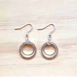 SMALL SIMPLE SILVER CIRCLES TWO CIRCLES EARRINGS - FREE SHIPPING WORLDWIDE
