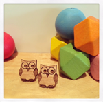 Laser Cut Wooden Owl Earrings