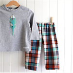 feather & check | toddler outfit | boys size 2 | play pants & tee