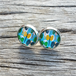 Glass dome stud earrings - Butterflies