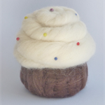 Cup cake Pin Cushion, needle felted, with a choice of pink or white frosting.