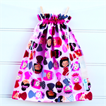 Library Bag Drawstring - Princesses on Pink - LIB103 - Girl