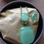 Minty Green Fused Glass Pendant and Earrings Set