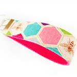 Wristlet Key Fob Chain - Echino Honeycomb and Bees (Pink)