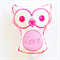 Personalised Handprinted Owl Soft Baby Toy Rattle Neon Pink