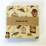 4 x Reversible Fabric Coasters - Feather birds with birdcages.