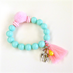 Tassel Bead Bracelet - Aqua Pink Yellow - Deer Charm - Pom Pom