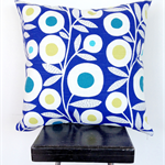 Blue Retro Flower Cushion Cover