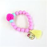Tassel Bead Bracelet - Pink Aqua Yellow - Vintage Bird - Pom Pom