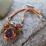 APRICOT DELIGHT, LAMP WORK & SILVER SILK NECKLACE