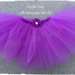 Handmade Purple Tutu with detachable flower hair clip - Size 2