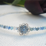 Swarovski crystal hairband with flower in shades of blue
