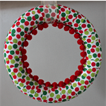 Christmas polka dot wreath green and red pom poms