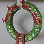 Santa sleigh wreath green and gold