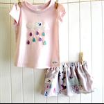 raindrops & whimsy   baby skirt & tee set   raincloud   pink lilac grey