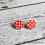 Christmas - Red and White Snowflake - Stud Earrings