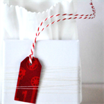 ☆ Dozen Jingle Red Retro Mini Gift Tags Labels Holiday Gift Wrap Christmas