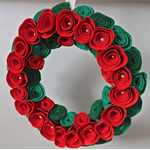 Christmas rose wreath red and green