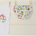 Size 6-12month baby girls 'Christmas Presents and Birds' design nappy cover set